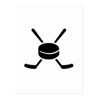 Crossed hockey sticks puck postcards