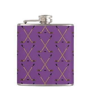 Crossed Hockey Sticks Purple Hip Flask