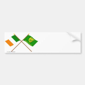 Crossed Ireland and Erin Go Bragh Flags Bumper Sticker
