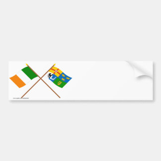 Crossed Ireland and Four-Province Flags Car Bumper Sticker