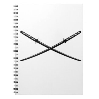 Crossed Japanese Katana Spiral Notebook