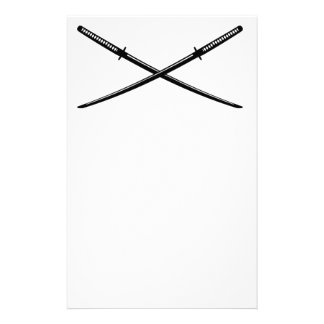 Crossed Japanese Katana Stationery Design