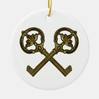 crossed keys christmas ornament