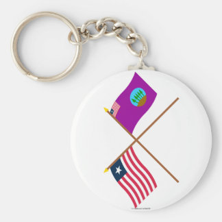 Crossed Liberia and Bomi County Flags Basic Round Button Key Ring
