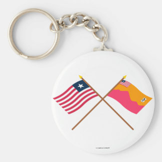 Crossed Liberia and Bong County Flags Basic Round Button Key Ring