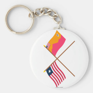 Crossed Liberia and Bong County Flags Keychains