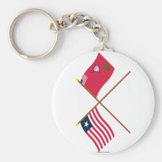 Crossed Liberia and Gbarpolu County Flags Basic Round Button Key Ring