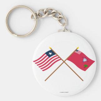 Crossed Liberia and Gbarpolu County Flags Key Chains