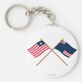 Crossed Liberia and Grand Bassa County Flags Basic Round Button Key Ring