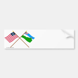 Crossed Liberia and Grand Gedeh County Flags Bumper Sticker