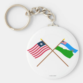Crossed Liberia and Grand Gedeh County Flags Key Chains