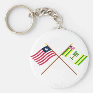 Crossed Liberia and Grand Kru County Flags Basic Round Button Key Ring