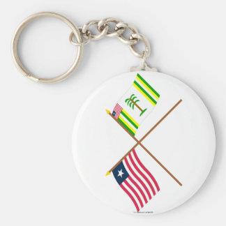 Crossed Liberia and Grand Kru County Flags Key Chain