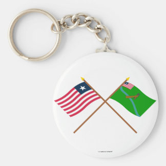 Crossed Liberia and Lofa County Flags Basic Round Button Key Ring