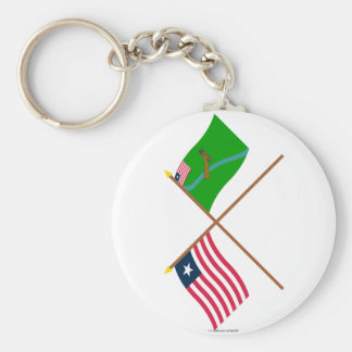Crossed Liberia and Lofa County Flags Key Chains