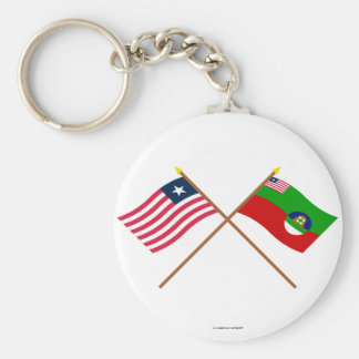 Crossed Liberia and Margibi County Flags Basic Round Button Key Ring