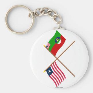 Crossed Liberia and Margibi County Flags Key Chain