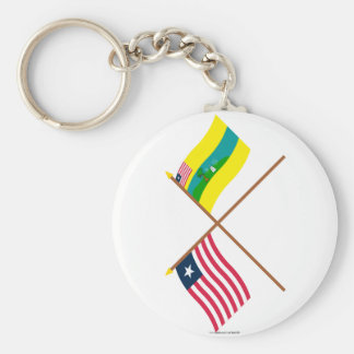 Crossed Liberia and Maryland County Flags Basic Round Button Key Ring