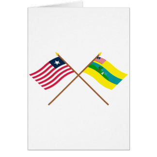 Crossed Liberia and Maryland County Flags Card