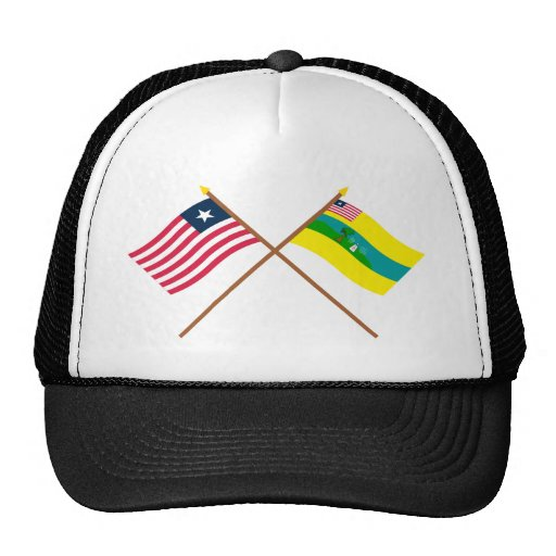 Crossed Liberia and Maryland County Flags Hat