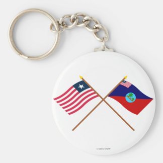 Crossed Liberia and Montserrado County Flags Basic Round Button Key Ring