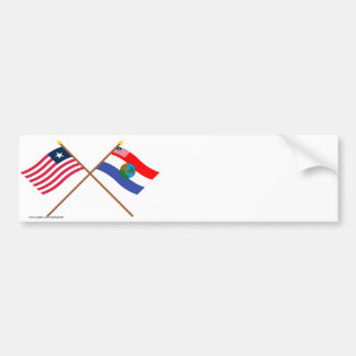 Crossed Liberia and Nimba County Flags Bumper Stickers