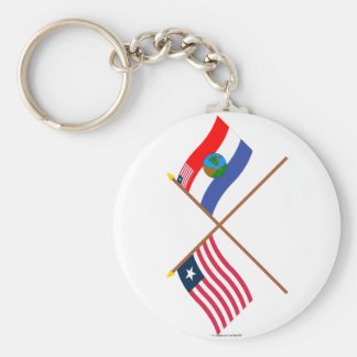 Crossed Liberia and Nimba County Flags Keychains