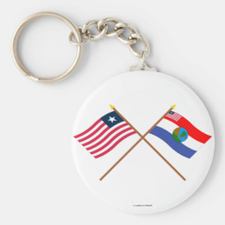Crossed Liberia and Nimba County Flags Keychain
