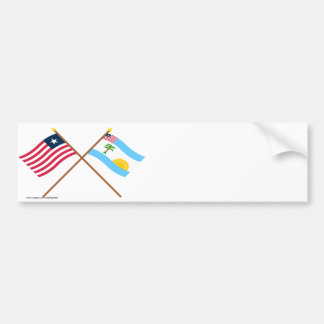 Crossed Liberia and River Cess County Flags Bumper Sticker