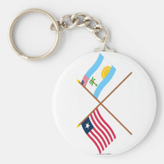 Crossed Liberia and River Cess County Flags Keychain