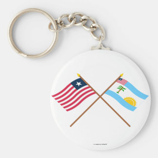 Crossed Liberia and River Cess County Flags Basic Round Button Key Ring