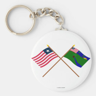 Crossed Liberia and River Gee County Flags Basic Round Button Key Ring
