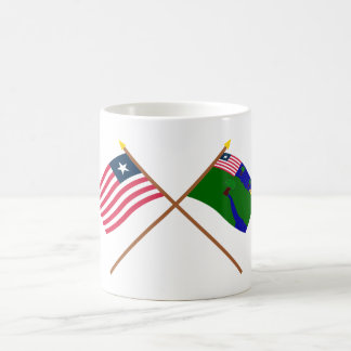 Crossed Liberia and River Gee County Flags Coffee Mugs