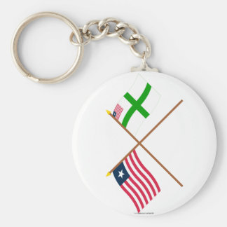 Crossed Liberia and Sinoe County Flags Basic Round Button Key Ring