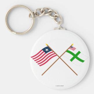 Crossed Liberia and Sinoe County Flags Keychain