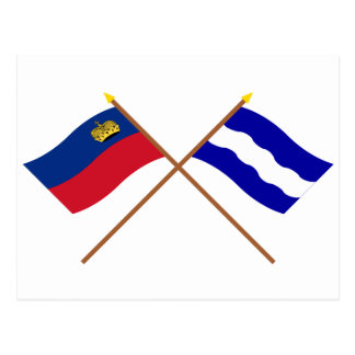 Crossed Liechtenstein and Eschen Flags Post Card
