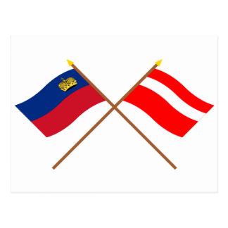 Crossed Liechtenstein and Vaduz Flags Post Card