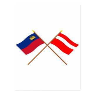 Crossed Liechtenstein and Vaduz Flags Post Cards