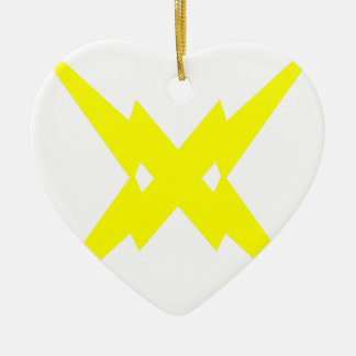 Crossed Lightning Ceramic Heart Decoration
