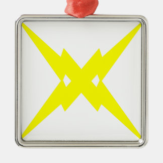 Crossed Lightning Silver-Colored Square Decoration