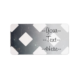 Crossed Lines, Scratchy Pattern, Rhombuses Address Label