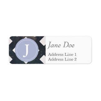 Crossed Lines, Scratchy Pattern, Rhombuses Return Address Label