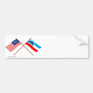 Crossed Malaysia and Sabah flags Car Bumper Sticker