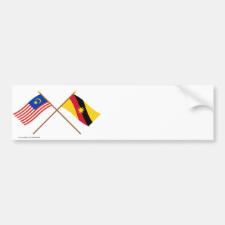 Crossed Malaysia and Sarawak flags Car Bumper Sticker