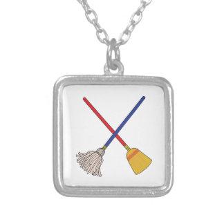 Crossed Mop & Broom Square Pendant Necklace