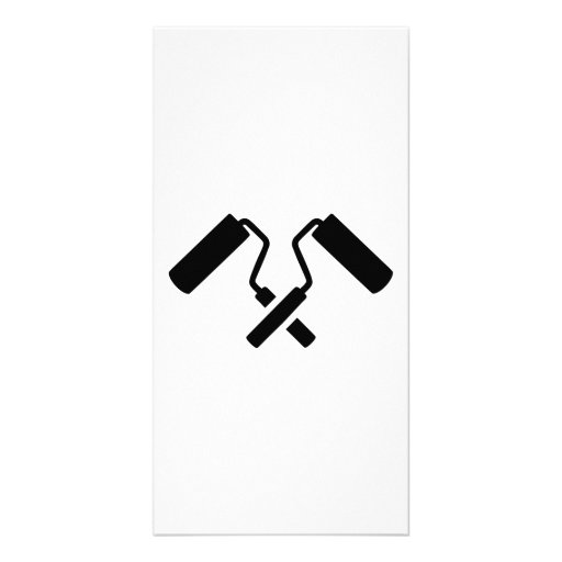 Crossed painter rolls personalized photo card