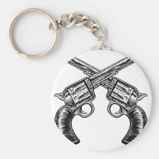 Crossed Pistol Gun Revolvers Vintage Woodcut Style Basic Round Button Key Ring