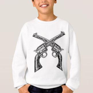 Crossed Pistol Gun Revolvers Vintage Woodcut Style Sweatshirt