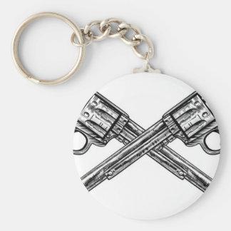 Crossed Pistol Guns Basic Round Button Key Ring