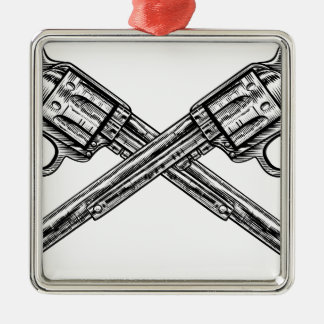 Crossed Pistol Guns Silver-Colored Square Decoration